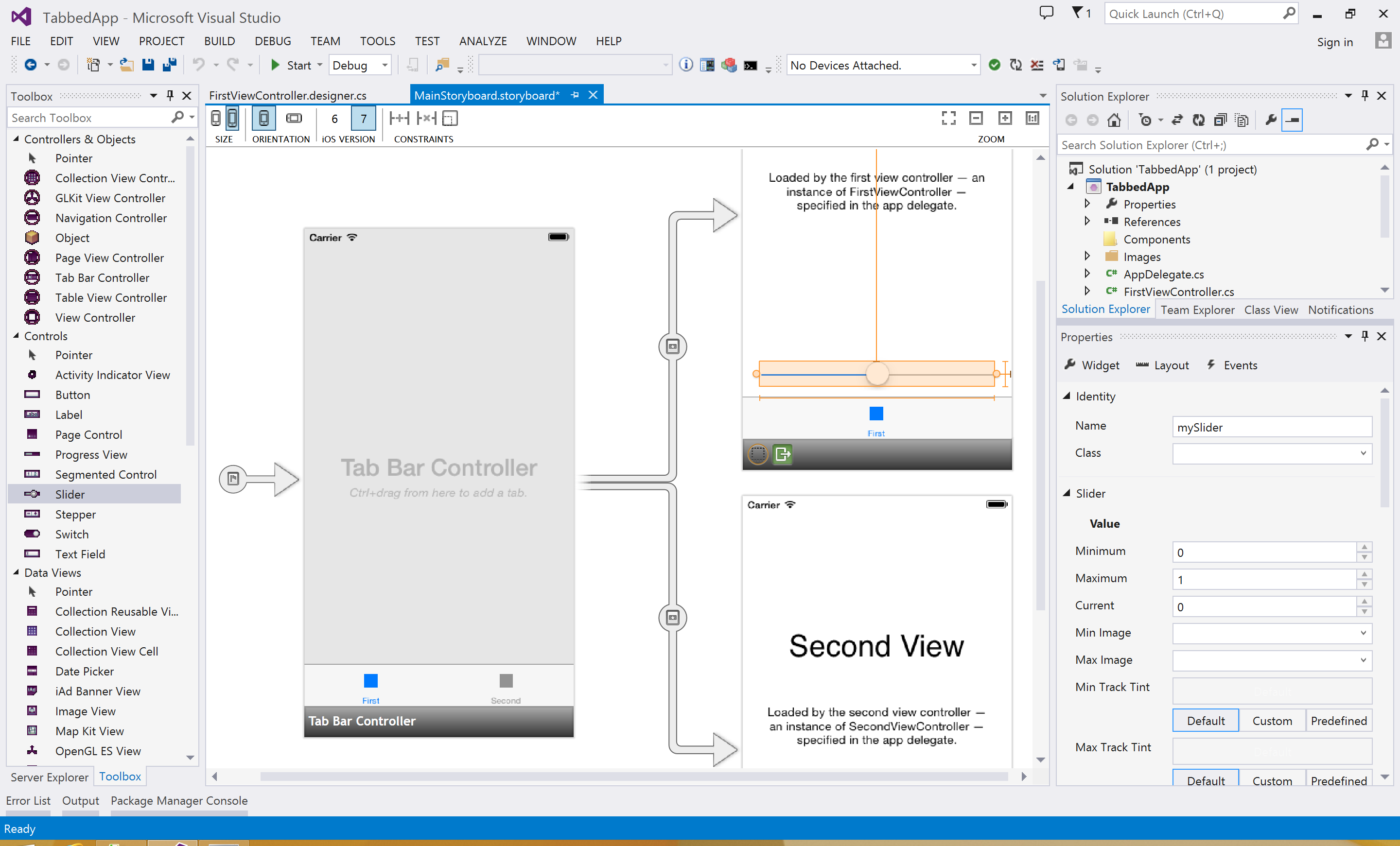 It's the Xcode Storyboard editor, but it's in Visual Studio, with the Visual Studio toolbox, Visual Studio double-click behavior, and so on and so forth. Now you never need to actually look at Xcode.