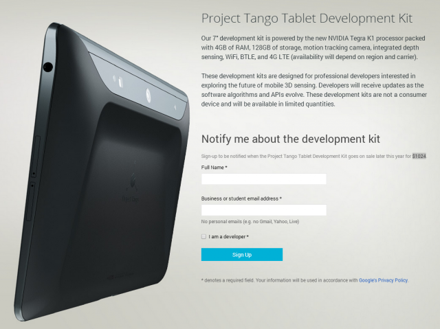 Google to sell Project Tango tablet dev kits for $1,024