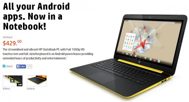 The HP SlateBook, an Android-powered laptop.
