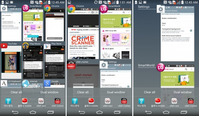 LG's mess of a recent apps screen. There are three modes, and they are all bad.