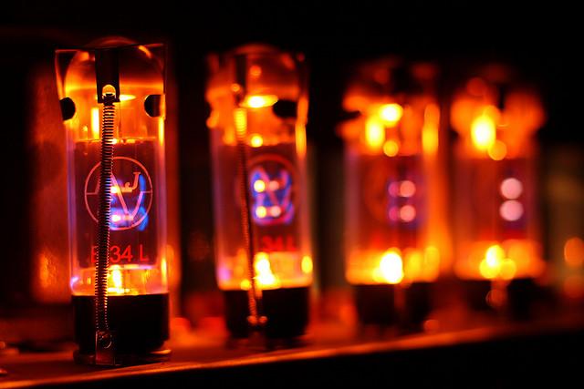 Vacuum tubes in a guitar amplifier.
