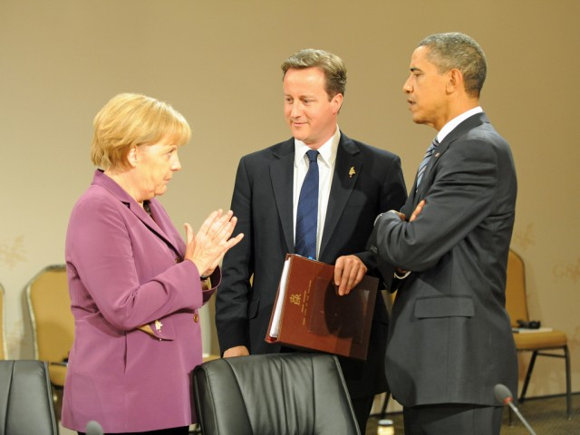 German Chancellor Angela Merkel (left) has been frustrated with having been targeted by the NSA.