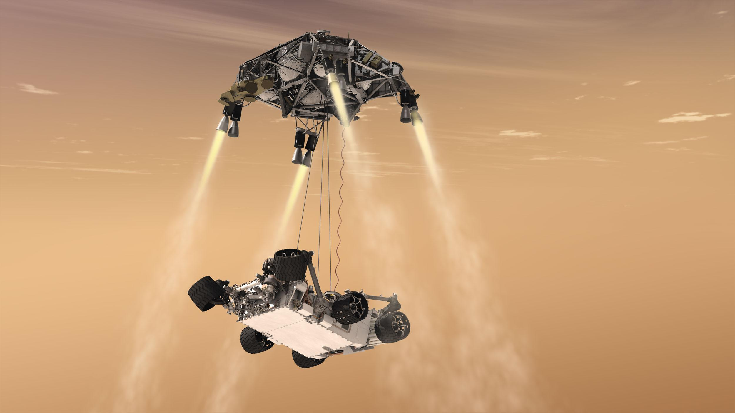 "3D rendering of Curiosity's ""skycrane"" landing on Mars."