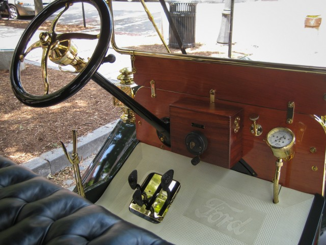 Despite being more than 100 years old, the controls for this Model T Ford have much in common with cars today. That steering wheel doesn't have much crash safety, though!