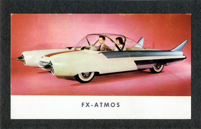 Ford's 1954 FX Atmos concept car was the first to replace the steering wheel with a jet age-inspired joystick.