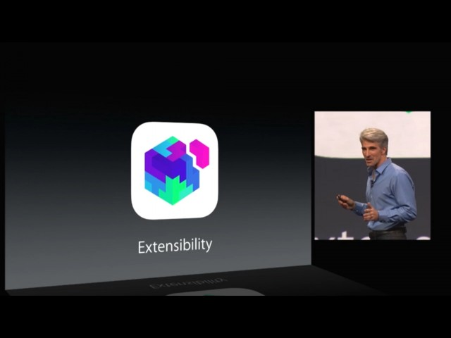 Apple's Craig Federighi introduces extensions at Apple's WWDC keynote.