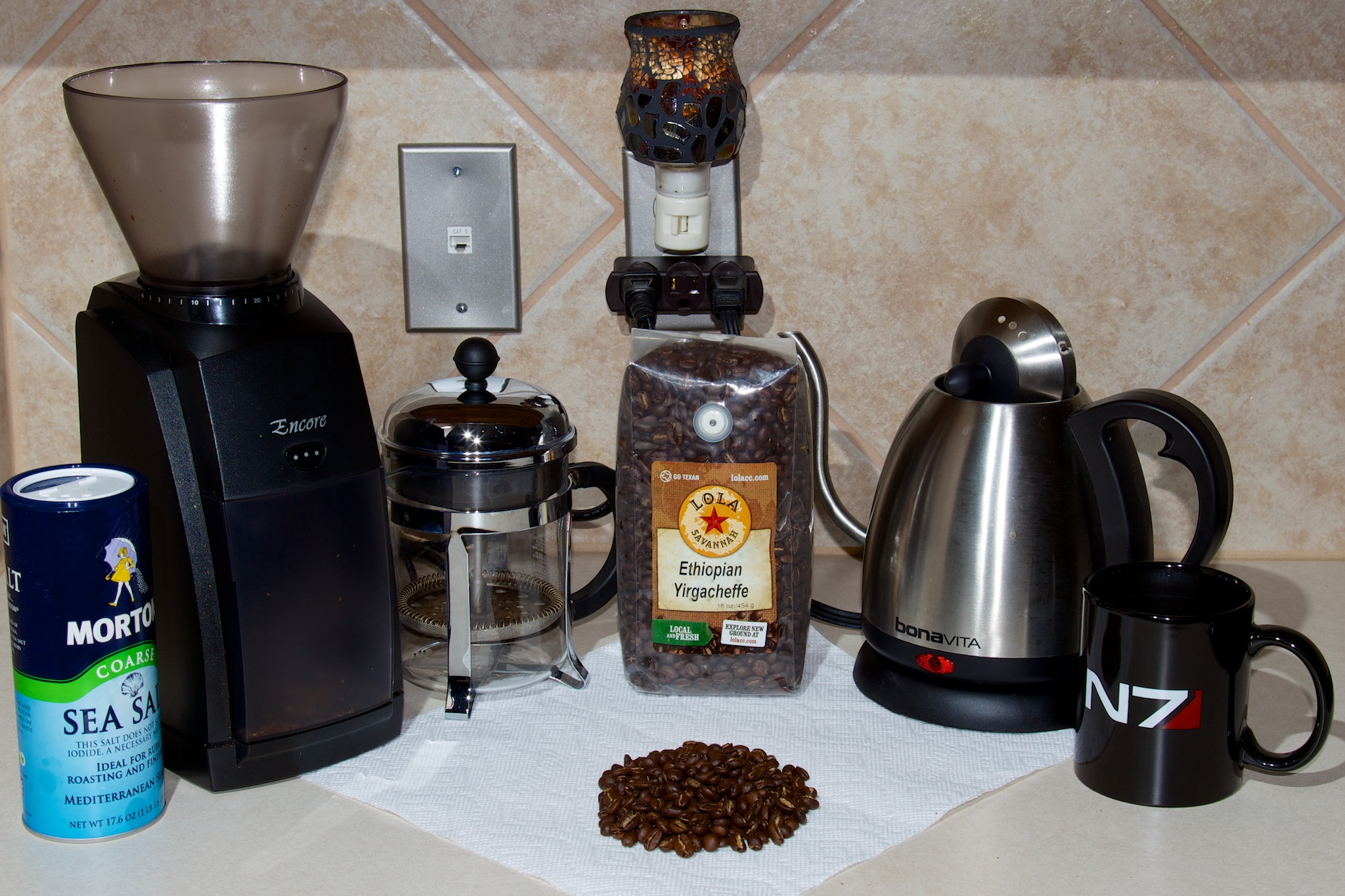 "My coffee corner. This is what lets me face each day. (Most of the stuff here I bought based on <a href=""http://thesweethome.com/reviews/gear-for-making-great-coffee/"">TheSweetHome's</a> recommendations.)"