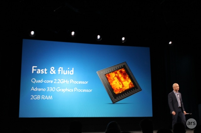 We're likely looking at a Snapdragon 800 or 801 SoC, which should be fast enough for most things.