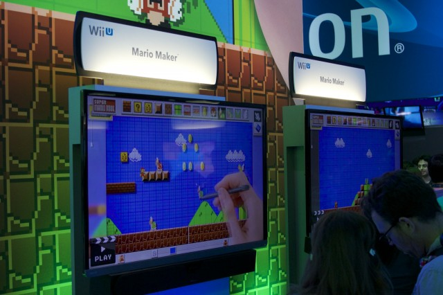 Some <i>Mario Maker</i> demo kiosks.