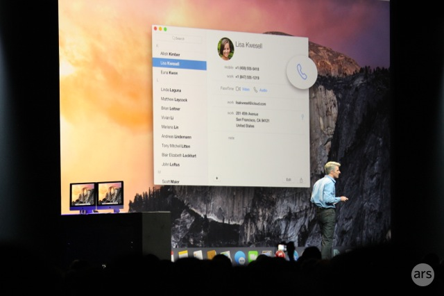 Preparing to use a connected iOS device to dial a contact from OS X's contacts list.