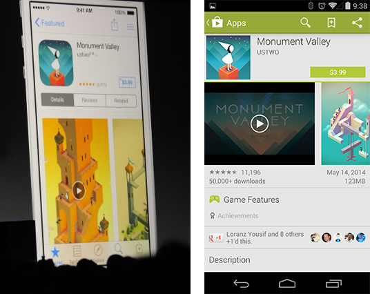 An iOS 8 app listing, showing a video, and the same thing on Android.
