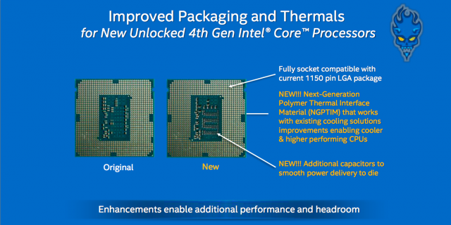 Intel has changed the packaging of its Haswell CPUs to help them hit higher speeds.