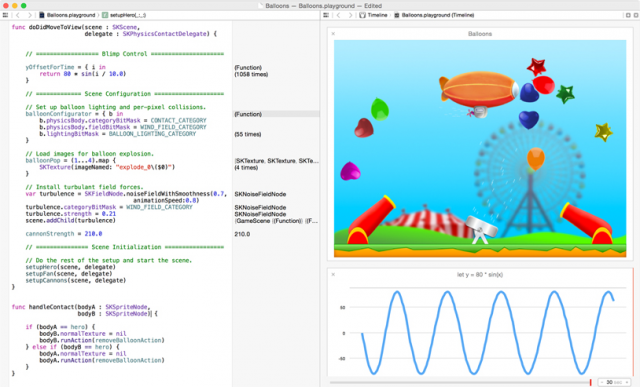 A screenshot of some Swift action.