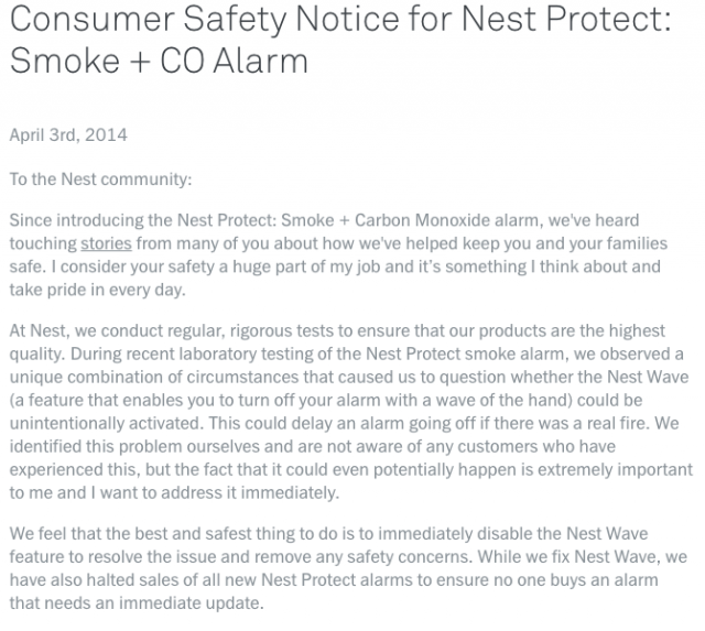 The original letter from Nest about the Nest Wave problem.