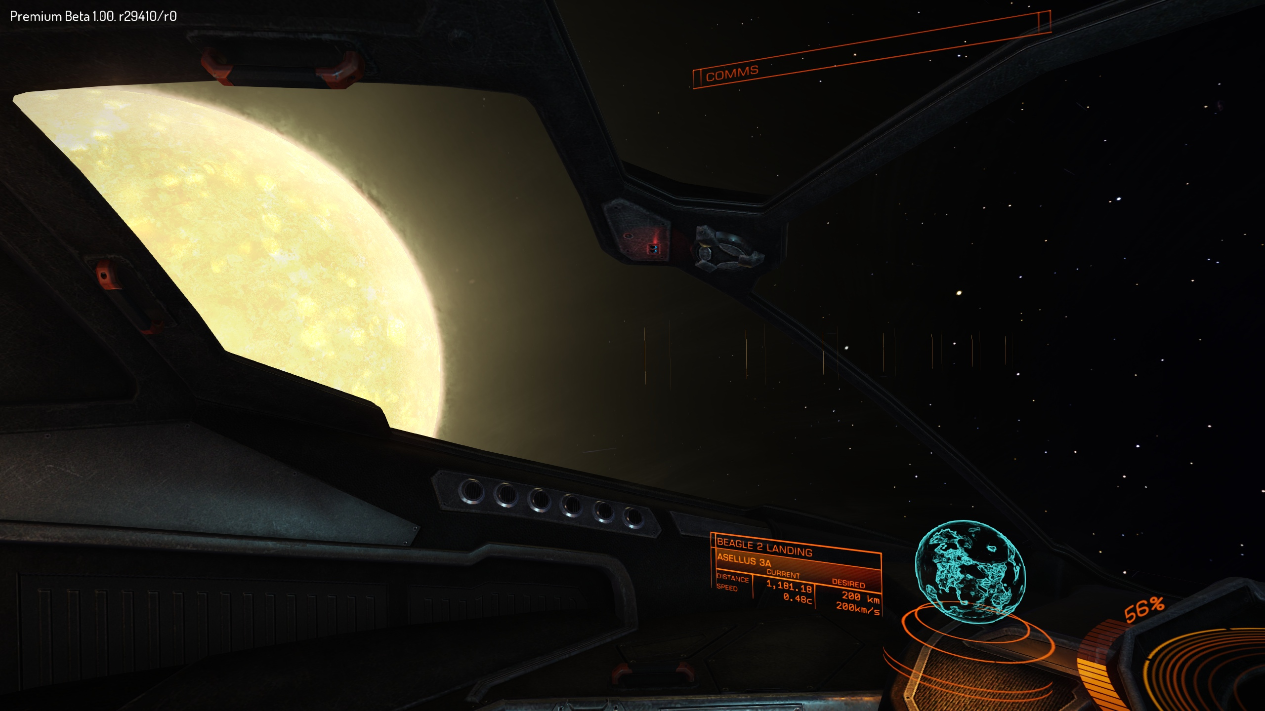 Zipping past the local star. Head tracking makes the game incredibly immersive.