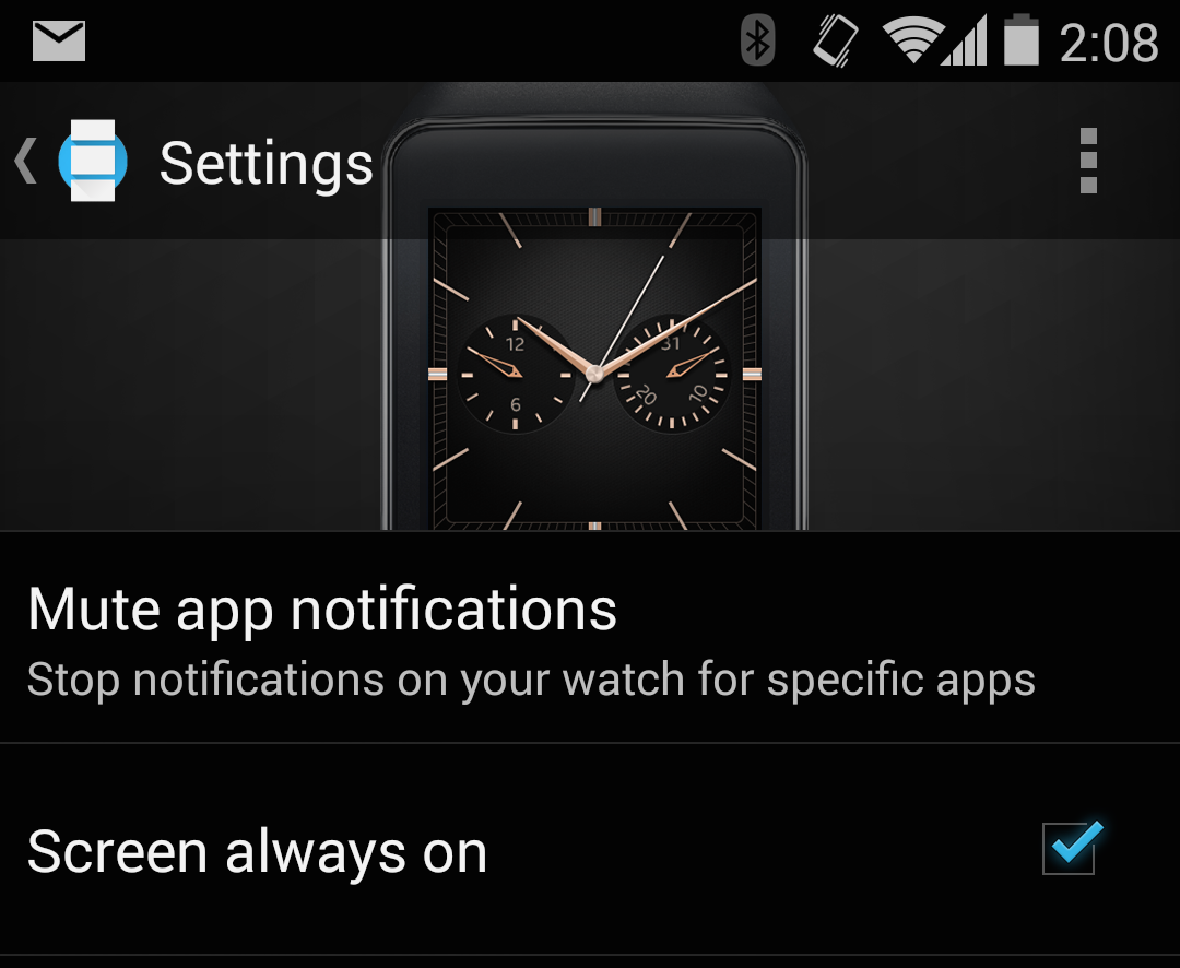 "LG marketed an ""always on screen"" as a major G Watch feature, but that's a little disingenuous—the ""always on"" screen option is a standard part of the Android Wear platform."