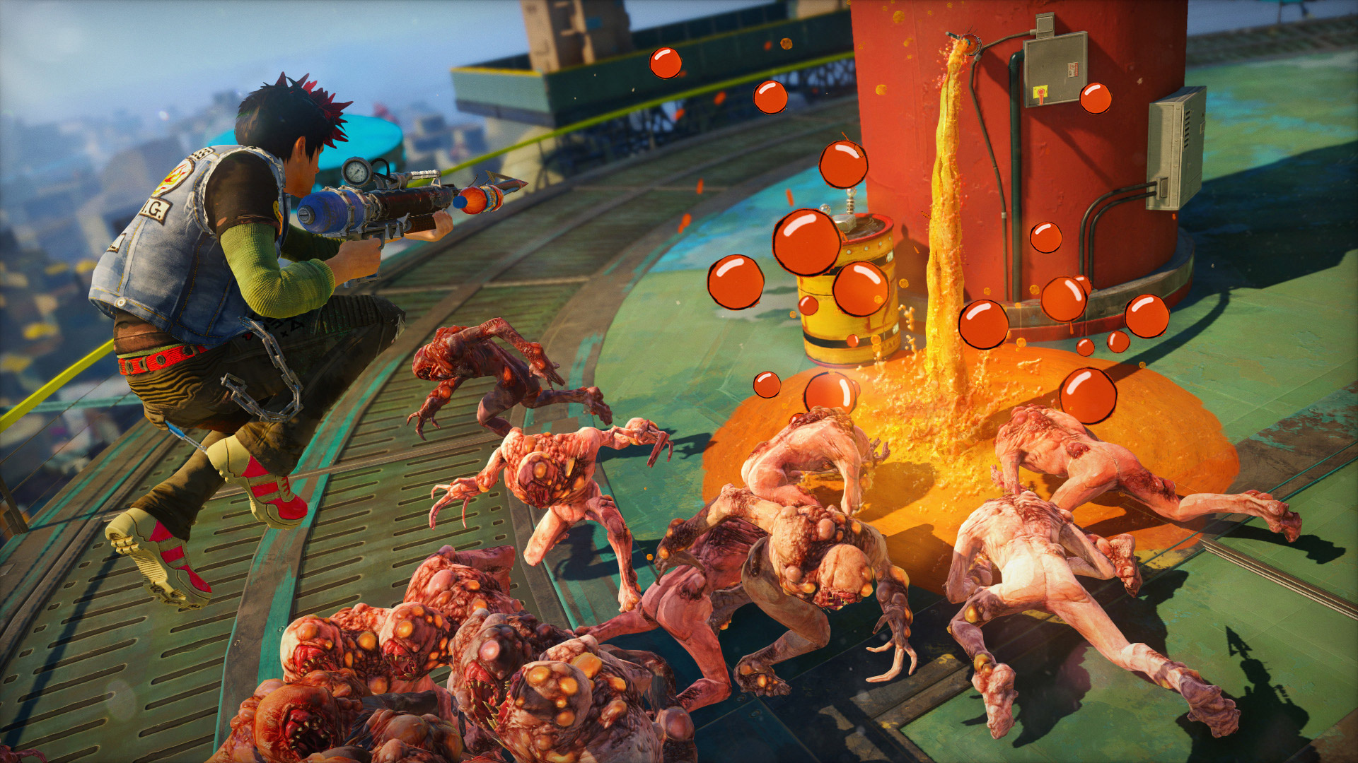 Staying in the air and firing at the same time wasn't as easy as we'd have liked in <em>Sunset Overdrive.</em>