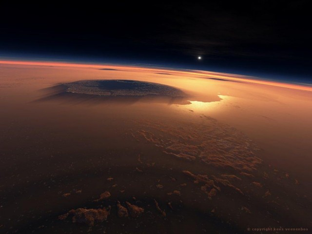 Rendered image of a sunrise over the Tharsis Plateau and Olympus Mons.