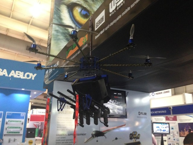 "Flying RoboCop is a ""riot control"" octocopter with guns and lasers"