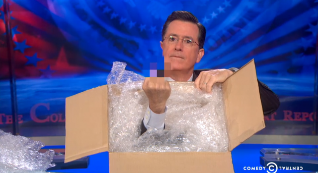 Free two-day shipping on Colbert's gesture to Amazon and its battle with Hachette.