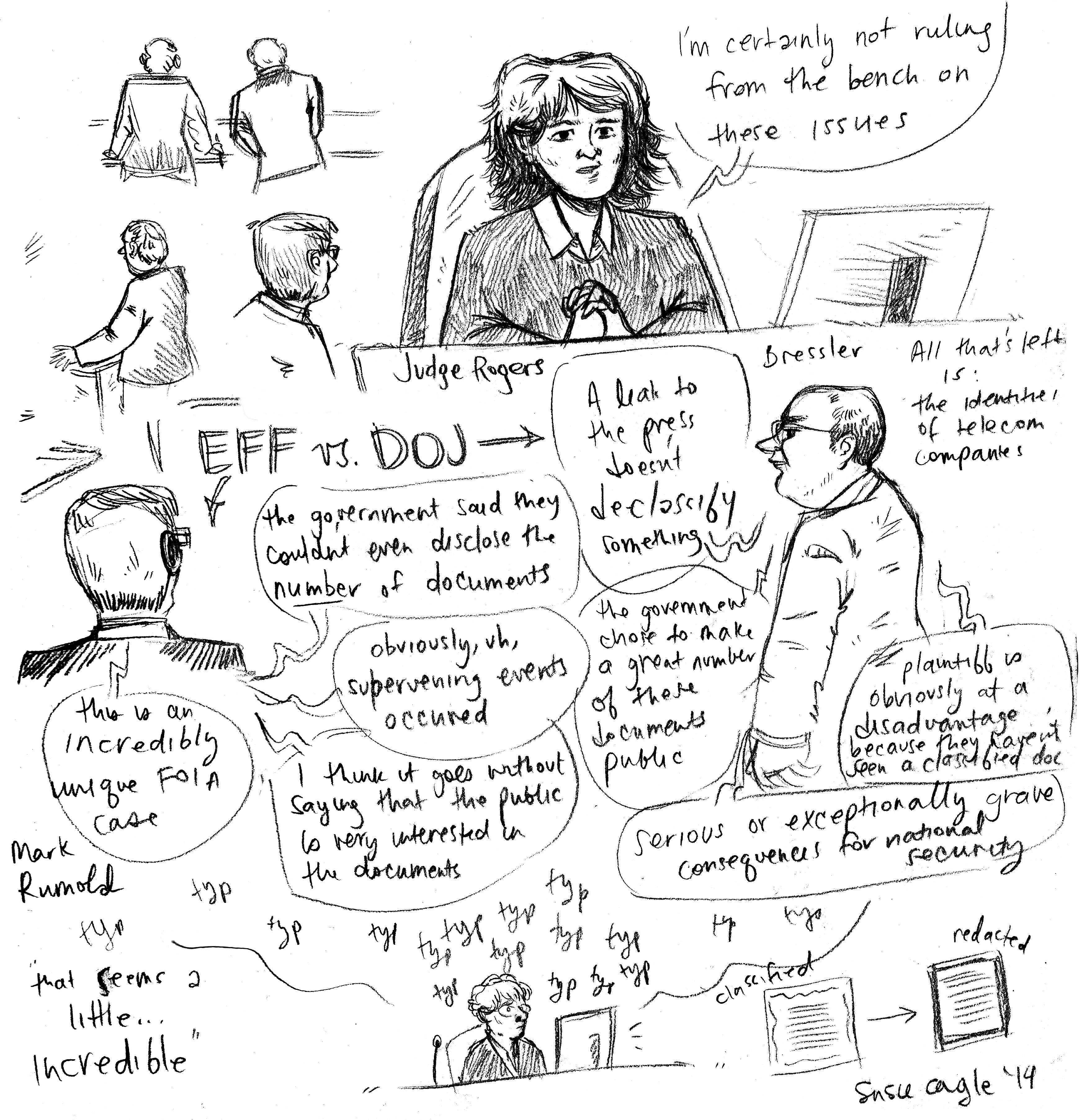 Local journalist and artist Susie Cagle drew this sketch at the June 3, 2014 EFF v. DOJ hearing in Oakland.