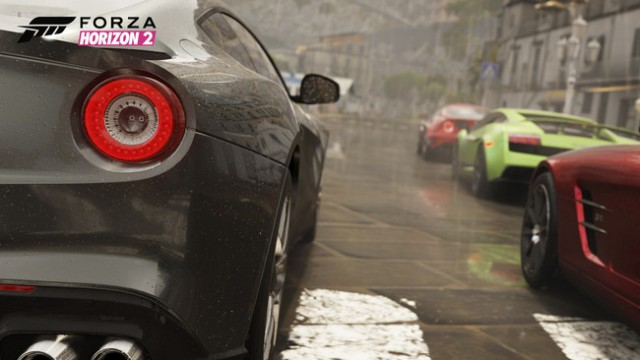 The rain sure looks pretty, but we weren't all that impressed with how <em>Forza Horizon 2</em> handled its slick road surfaces.