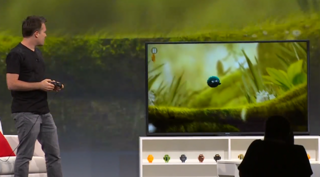 Playing a mobile game on the Android TV platform.