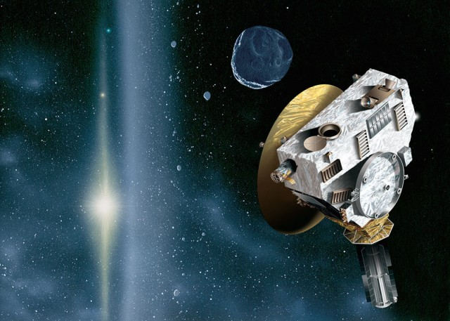 An artist's conception of New Horizons passing an unrealistically high density of Kuiper Belt Objects while keeping its main antenna pointed towards the distant Sun.