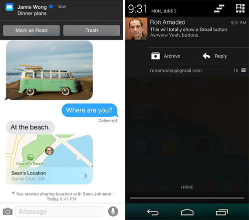 iOS8 notification actions vs Android 4.4