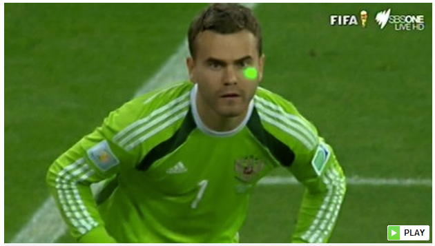 Russian goalkeeper, like many players before, struck by laser pointer