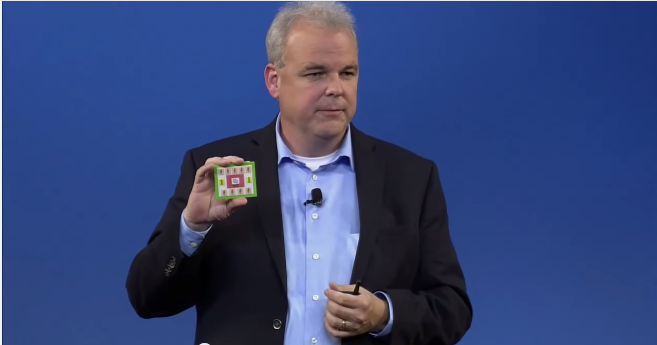 Martin Fink shows a Machine system on a board at HP's Discover conference.