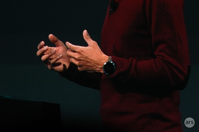 Sundar Pichai wears a Moto 360 onstage at the Google I/O keynote.