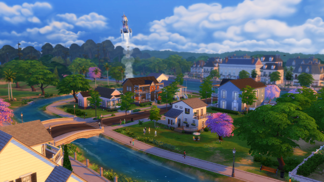 This neighborhood shot in <em>The Sims 4</em> shows a little bit of the game's giant park, but we were more interested in new, lively setpieces like nightclubs and gyms.