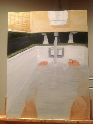 George W. Bush's self-portrait in the bath tub.