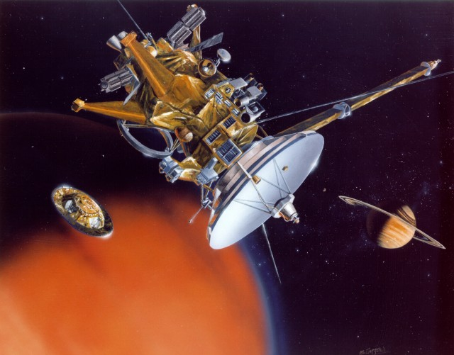 An artist's conception of Cassini, which carries a dust analysis system.