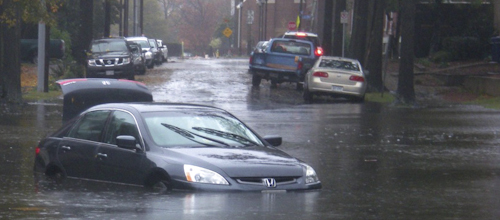 A northeaster—a common type of storm on the East Coast—causes severe flooding in Virginia.