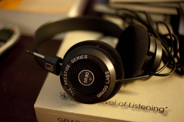 The SR80s, Grado's basic pair of on-ear headphones.