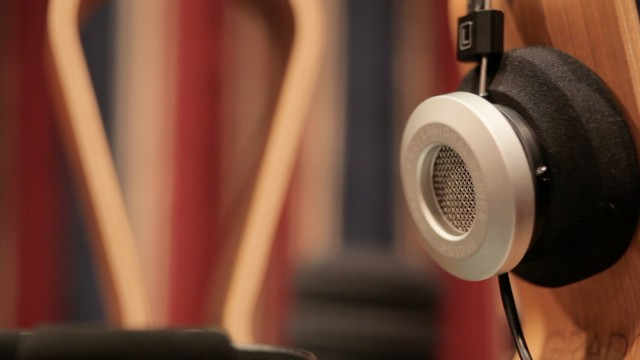 One of the prototype models of headphones in the listening room.