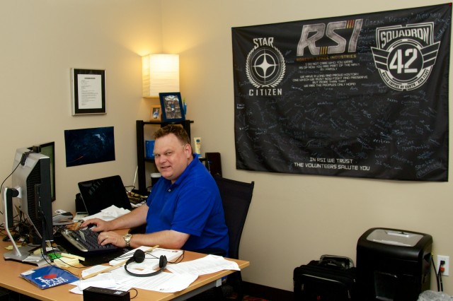 "Studio President of Production Eric ""Wingman"" Peterson in his office."