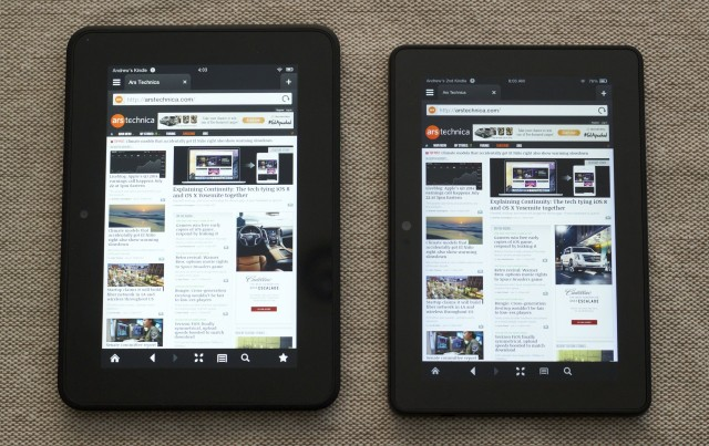 The 2012 Kindle Fire HD (left) and the 2013 Kindle Fire HDX. The tablets share the same version of Silk, but different UIs and different underlying versions of Android.