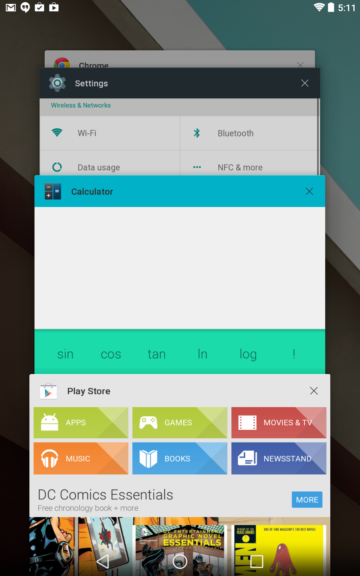 The Android L developer preview's multitasking UI on a 2013 Nexus 7.