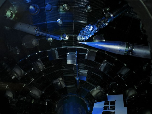 The target chamber of the National Ignition Facility.