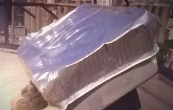 Pranksters used this pan to cover Brooklyn Bridge lights.