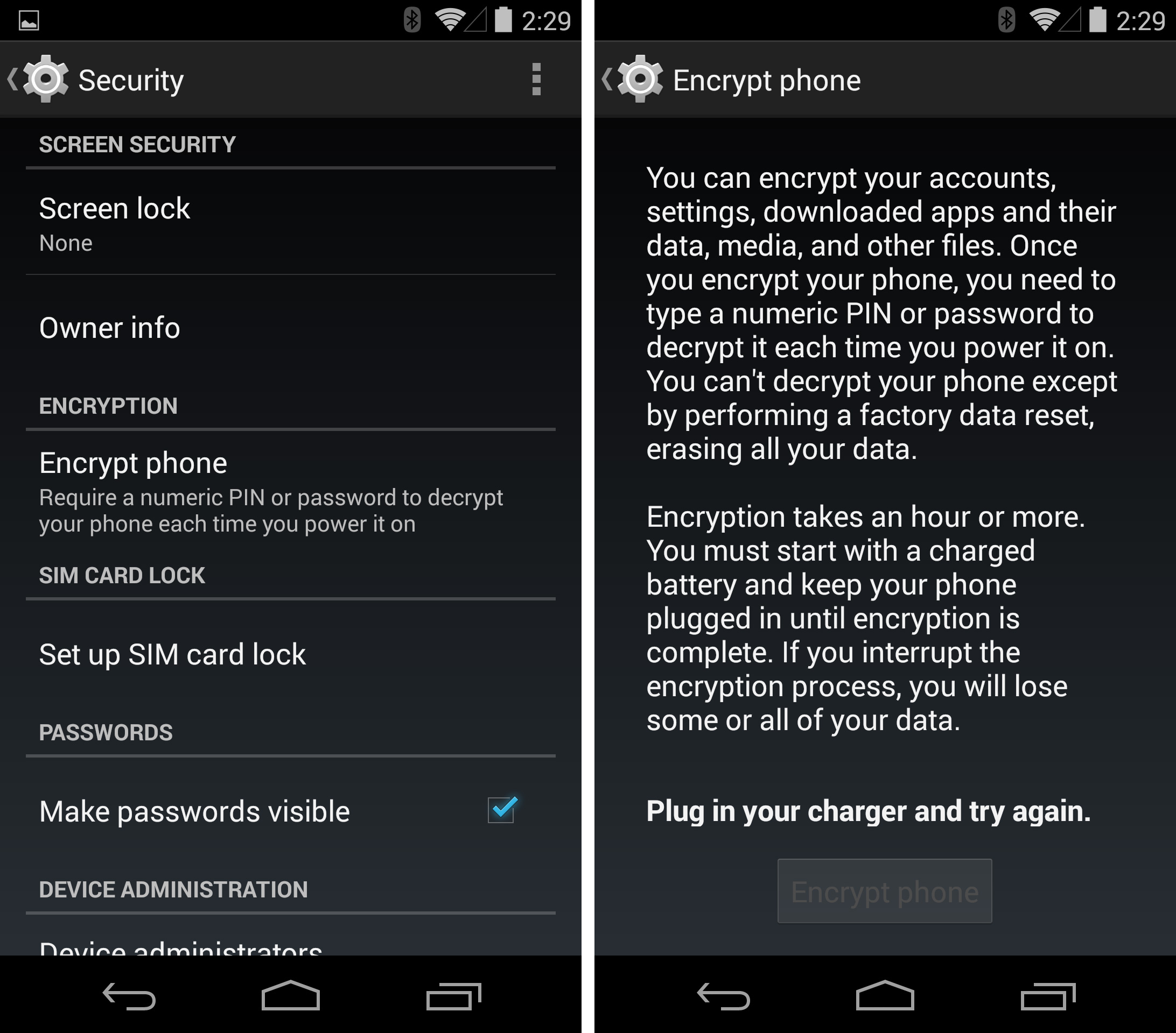 "Securely sell your Android device with this one weird trick! (The trick is pressing the ""Encrypt Phone"" button)."