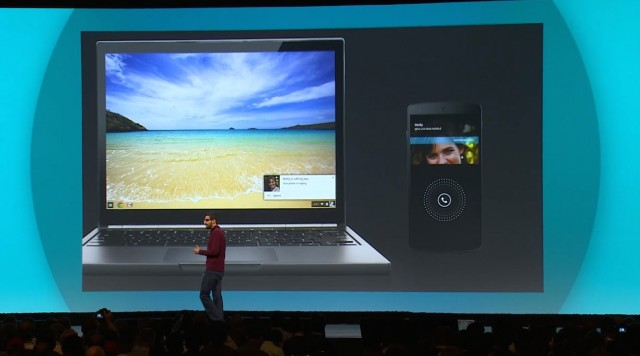 Google's Sundar Pichai demonstrates a phone call on your Android phone popping up on your Chromebook.