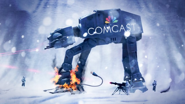 A Star Wars AT-AT battle vehicle with a Comcast logo.