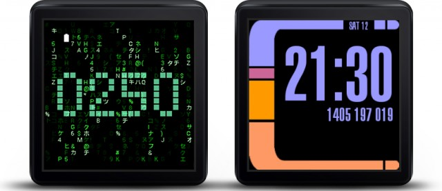 Matrix face and Starwatch, two early (and now unsupported) Android Wear watch faces.