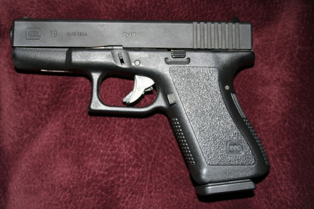 Note: This is an example of a Glock gun, not the actual one found by police.