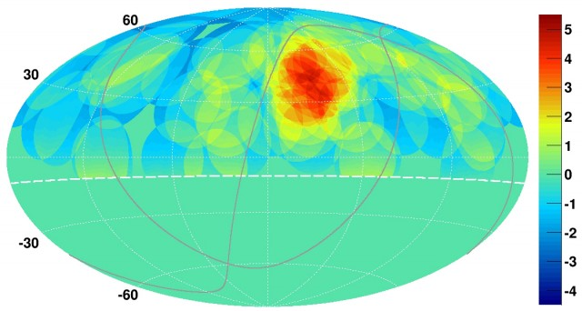 The hotspot for ultrahigh-energy cosmic rays.