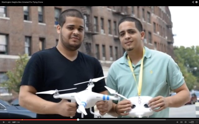 Remy Castro (left) was one of two men arrested in a drone incident involving an NYPD helicopter on Monday.